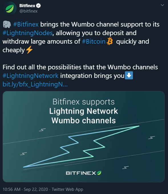 Bitfinex Adds Wumbo Channel Support
