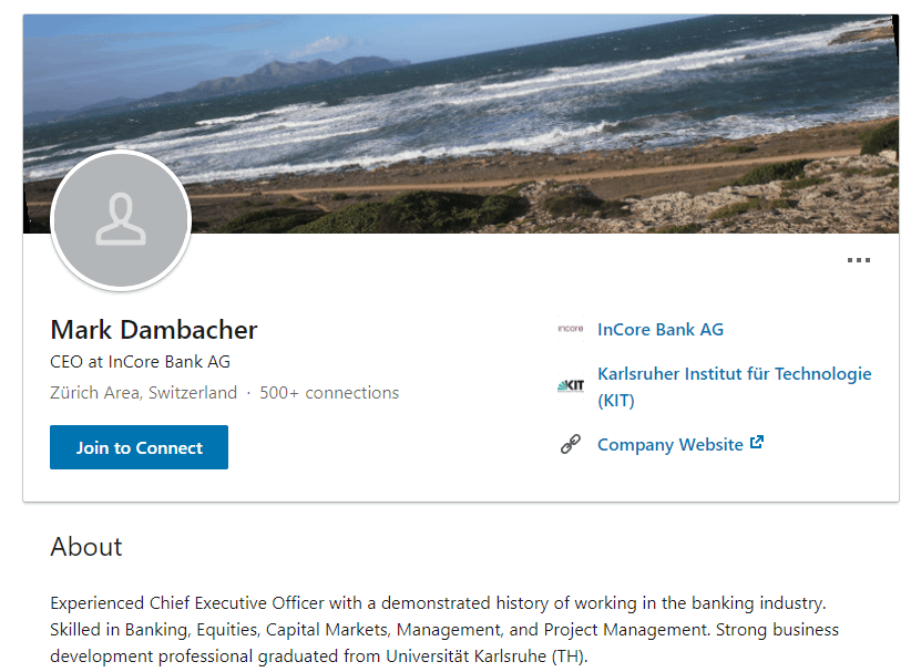 InCore Bank AG CEO, Mark Dambacher via LinkedIn