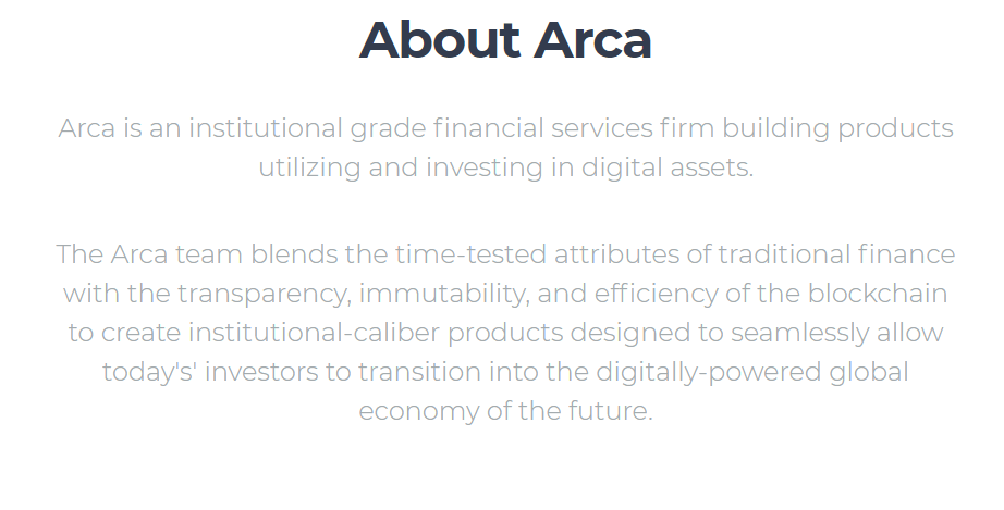 Arca Funds via Homepage
