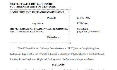 An Analysis of the SEC vs Ripple Labs Inc Complaint