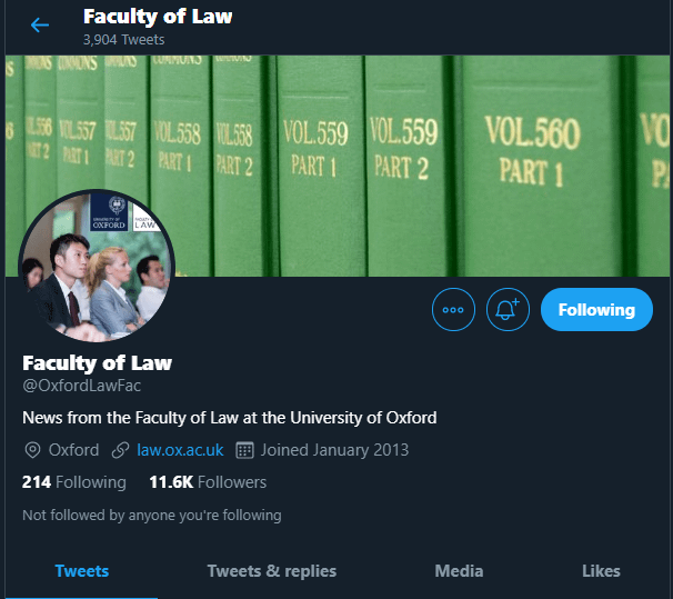 Oxford Faculty of Law via Twitter