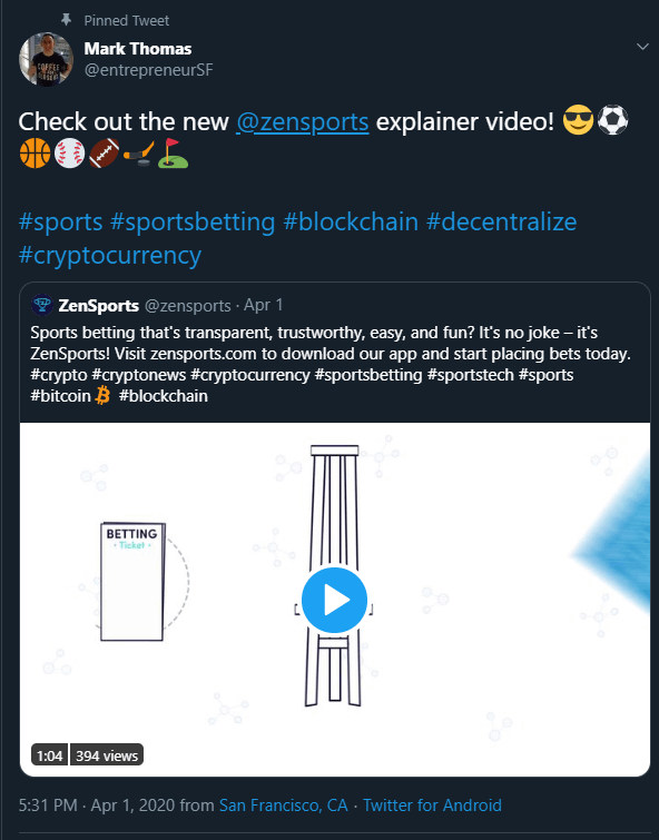 ZenSports CEO Mark Thomas via Twitter