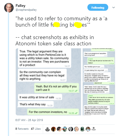 Palley via Twitter Discussing Atonomi Lawsuit
