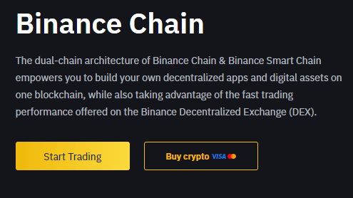 Binance DEX via Homepage