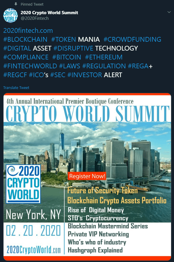 Crypto World Summit via Twitter