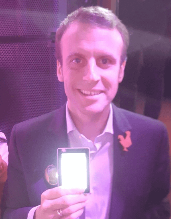 French President Emmanual Macron Showing Off A Ledger Bitcoin Hardware Wallet