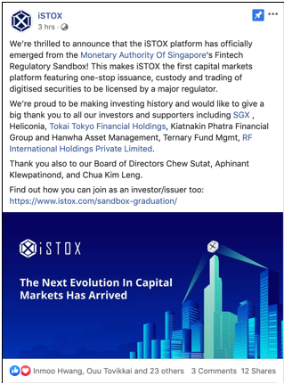 iSTOX Graduates from MAS Regulatory Sandbox