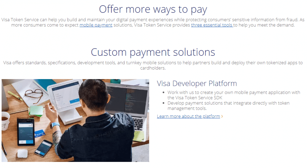 Visa Token Service via Homepage