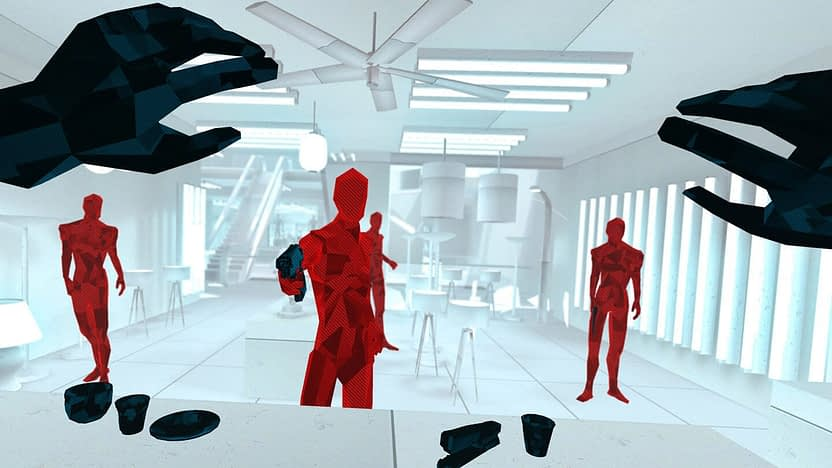A screenshot of Superhot, intriguing VR Game