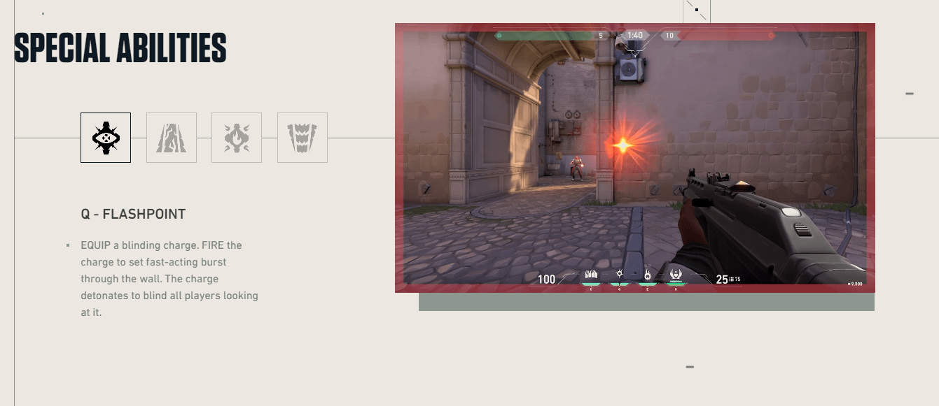 Flashpoint only works through walls. (Image: Play Valorant)