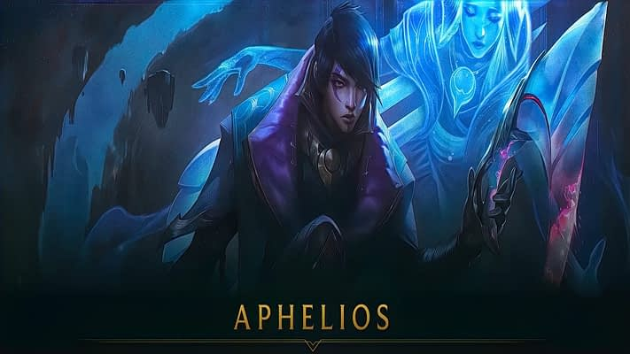 An artwork of Aphelios, new champion in League of LEgends