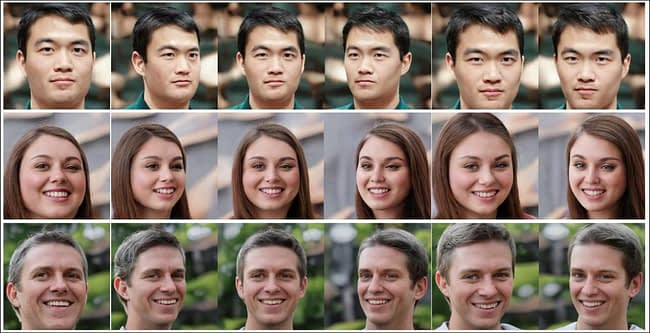 Unusual among facial generators based on Generative Adversarial Networks, SofGAN can change the angle of view at will, within the limits of the array of angles present in the training data. Source: https://arxiv.org/pdf/2007.03780.pdf
