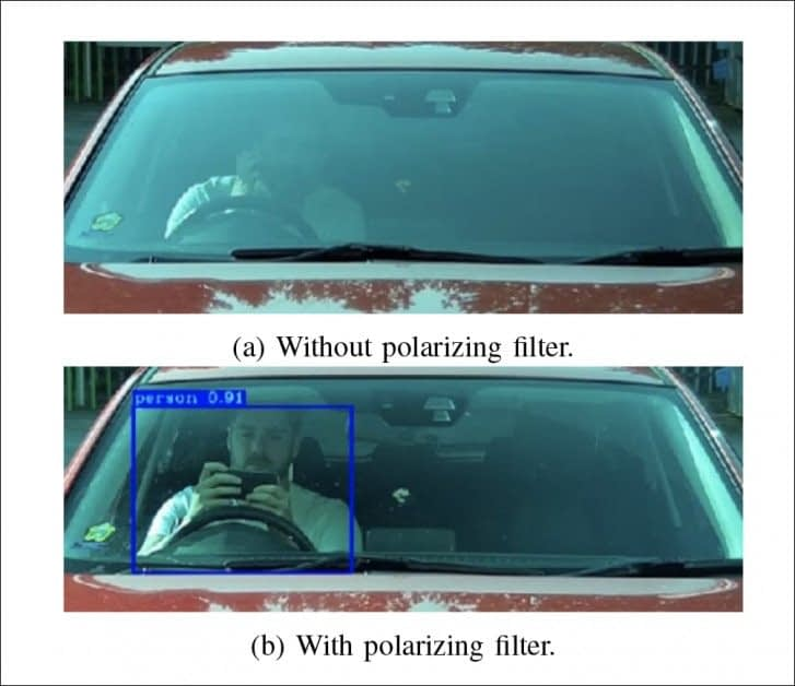 Above, an unfiltered view of a car windshield. Below, the same view with a physical polarizing filter attached to the camera. Source: https://arxiv.org/pdf/2109.02119.pdf