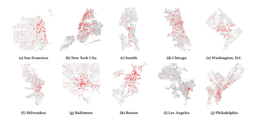 Surveillance camera density across US cities, according to Stanford research in 2021