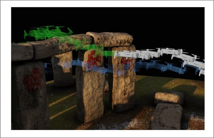 The project's trajectory optimizer navigates through a NeRF model of Stonehenge that was generated through photogrammetry and image interpretation into a Neural Radiance environment. The trajectory planner calculates a number of possible paths before establishing an optimal trajectory over the arch.