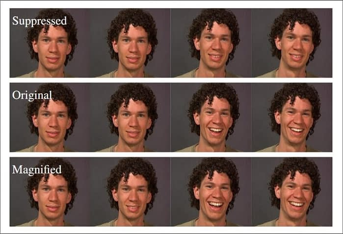 The 2012 Adobe/Facebook research manipulated expressions by imposing traditional, CGI-driven changes onto video footage. Expressions could be augmented or suppressed. Source: https://yfalan.github.io/files/papers/FeiYang_CVPR2012.pdf