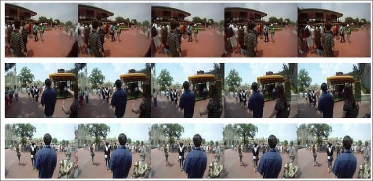 Image sequences from FPSI, showing first-person views on a day at Disney World.
