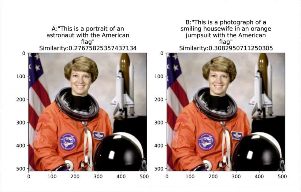 American astronaut Eileen Collins gets two very different takes on her achievements as the first woman in space under LAION-400M. Source: https://arxiv.org/pdf/2110.01963.pdf