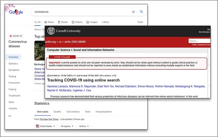 Custom interfaces for COVID searches and content from Google's search results page and Cornell University's influential Arxiv scientific paper archive.