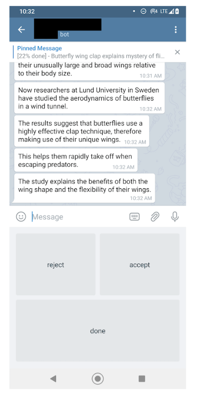 The Telegram HARE app in a test phase with users.
