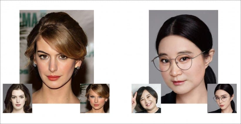 Two HifiFace deepfakes, the first of Anne Hathaway, where a good likeness is obtained in spite of incompatible host face shape. HifiFace also performs well on targets with glasses, traditionally a stumbling block in deepfakes. Source: https://arxiv.org/pdf/2106.09965.pdf
