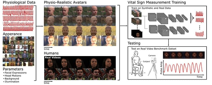 Synthetic avatars created by Microsoft research, with ray-traced images that contain PPG data. Source: https://arxiv.org/pdf/2010.12949.pdf
