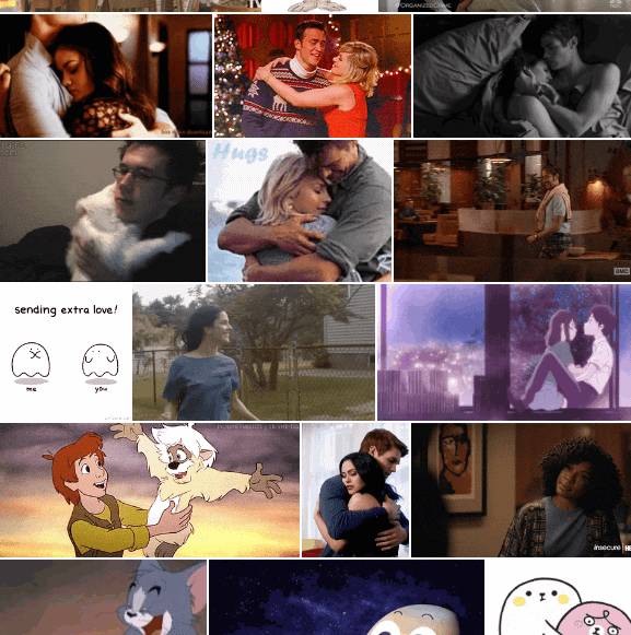 Depiction of various types of relationship in Twitter's available 'hug' GIF category. The use of diverse genres, tropes, gender depictions and other factors add granularity to the potential interpretability of a GIF choice for this sentiment.