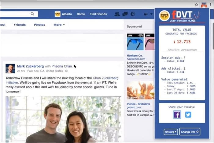 The FDVT browser extension provided by the researchers gives the logged-in Facebook user a stream of information about the privacy and profitability (for Facebook) about their browsing activities. Source: https://www.youtube.com/watch?v=Gb6mwJqHhCI