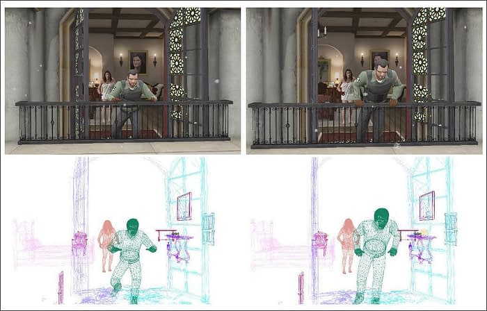 With a programmatic and essentially 'holographic' understanding of the entire scene representation, SAIL-VOS 3D imagery can synthesize representations of objects ordinarily hidden by occlusions, such as the far-facing arm of the character turning around here, in a way that would otherwise depend on many representative instances in real-world footage. Source: https://arxiv.org/pdf/2105.08612.pdf