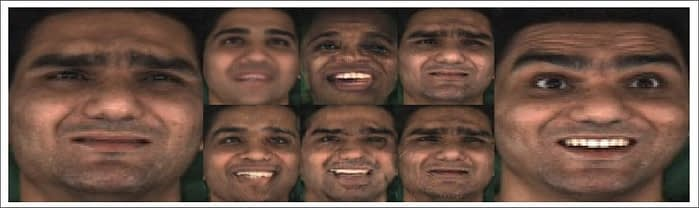 On the left, a 'sad' frame of the source video. On the right, a 'happy' frame. In the center are two nascent approaches to synthesizing alternate emotions – top row: a fully-masked face where the entirety of the expression surface has been substituted; bottom row: a more traditional Wav2Lip method, which only substitutes the lower part of the face. Source: https://raw.githubusercontent.com/jagnusson/Wav2Lip-Emotion/main/literature/ADGD_2021_Wav2Lip-emotion.pdf