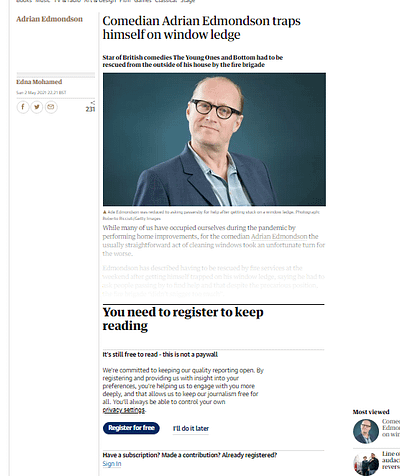 Screenshot of a 'login wall' for a Guardian article view that has come from a Google search. This cannot be captured in web archive snapshots, since the restriction is generated either by referrer headers or IP-based systems that reveal Google as the originator of the click.
