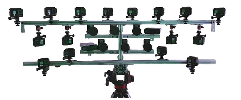 NLR's Custom camera rig featuring 16 GoPro HERO7 and 6 central Back-Bone H7PRO cameras. For 'real time' rendering, these operate at a minimum of 60fps. Source: https://arxiv.org/pdf/2103.11571.pdf