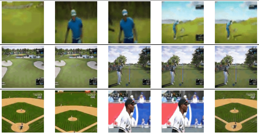 Early results from GODIVA, with frames from videos created from two prompts. The top two examples were generated from the prompt 'Play golf on grass', and the bottom third from the prompt 'A baseball game is played'. Source: https://arxiv.org/pdf/2104.14806.pdf
