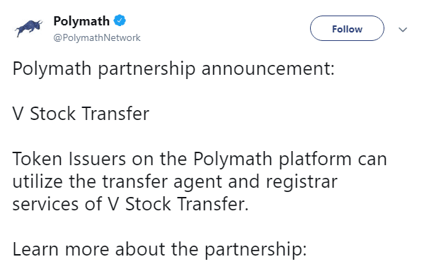 Polymath V Stock Partnership via Twitter