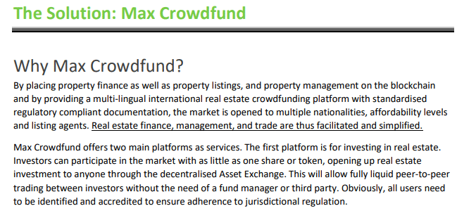 Snippit from Max Crowdfund Whitepaper